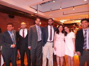 Graduating residents at banquet (l to r): Drs. Muhammad Masud,, Nour Abdelhamid, Karan Singh, Ghasan Ahmad, Pooja Sofat, Deeya Gaindh, and Naeem Mahfooz.