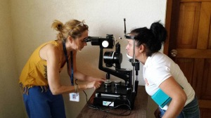 Norah Lincoff, MD (l), examining a patient from the Juigalpa region, Nicaragua